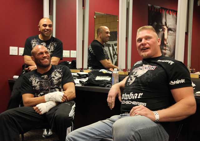 Brock shows that he's not all stone-faced glares and jarring takedowns when he shares a laugh with Randy Couture in 2009.