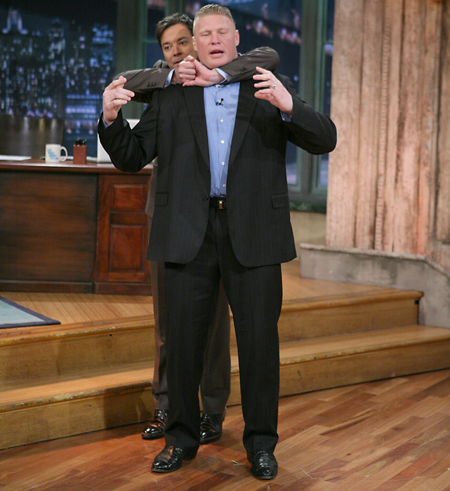 Brock teaches Jimmy Fallon some wrestling moves on  Late Night with Jimmy Fallon  in March 2011. Looks like Fallon's got him in a pretty good hold.