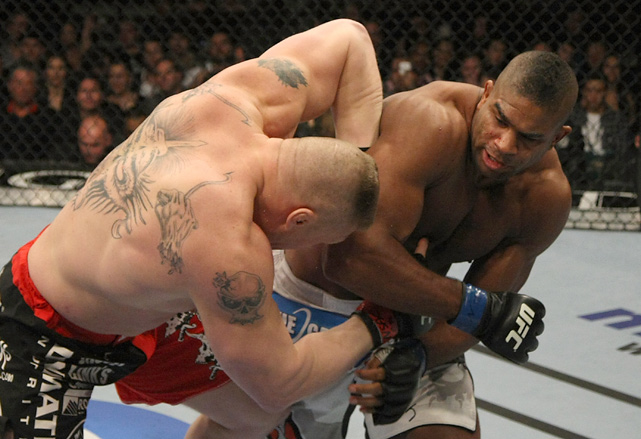 Lesnar takes a hard right from Alistair Overeem during UFC 141 on Dec. 30, 2011. Lesnar lost the fight via technical knockout in the first round and announced his retirement from UFC immediately afterwards.