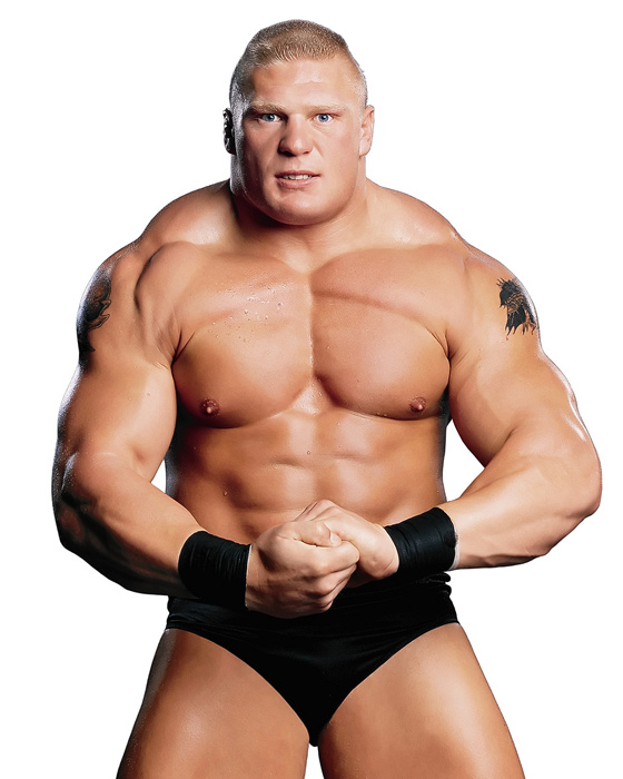 "Lesnar flexes for the camera during his professional wrestling days. The recently retired former UFC champ was once billed as ""The Next Big Thing"" by the WWE."