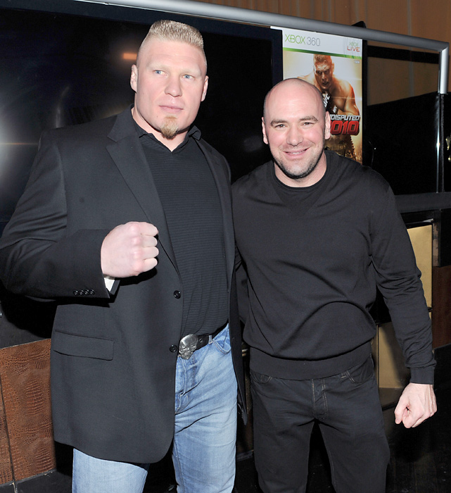 "The champ poses with UFC President Dana White at the premiere of ""UFC Undisputed 2010"" in New York City."