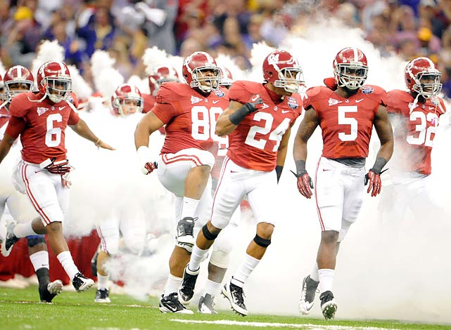 Alabama charged onto the field before the game, eager to prove its title-game worth.