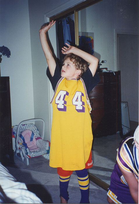 Rocking a sweet Jerry West jersey.