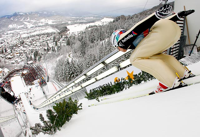 Simon Ammann of Switzerland competes during the FIS Ski Jumping World Cup  in Oberstdorf, Germany.
