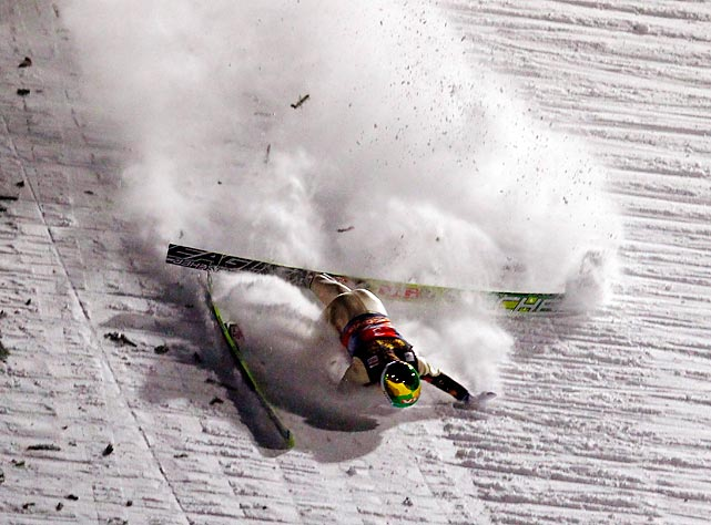 Norway's Tom Hilde crashes during the 60th four-hills ski jumping tournament in Oberstdorf, Germany. Austria's Gregor Schlierenzauer won the competition ahead of his compatriots Andreas Kofler and Thomas Morgenstern.