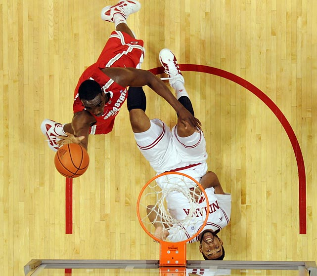 Ohio State's Evan Ravenel was all over Indiana's Christian Watford on this drive to the basket. But No. 15 Indiana got the best of No. 2 Ohio State Saturday. The Hoosiers (13-1, 1-1 Big Ten) defeated the Buckeyes (13-2, 1-1 Big Ten) in Bloomington 74-70, with Victor Oladipo scoring the go-ahead basket with 36 seconds left. This Indiana team is legit. It took down No. 1  Kentucky Dec. 10.