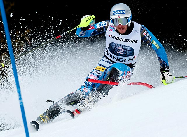 American skier Bode Miller competes in a World Cup Slalom event in Switzerland. Miller took third in the event.