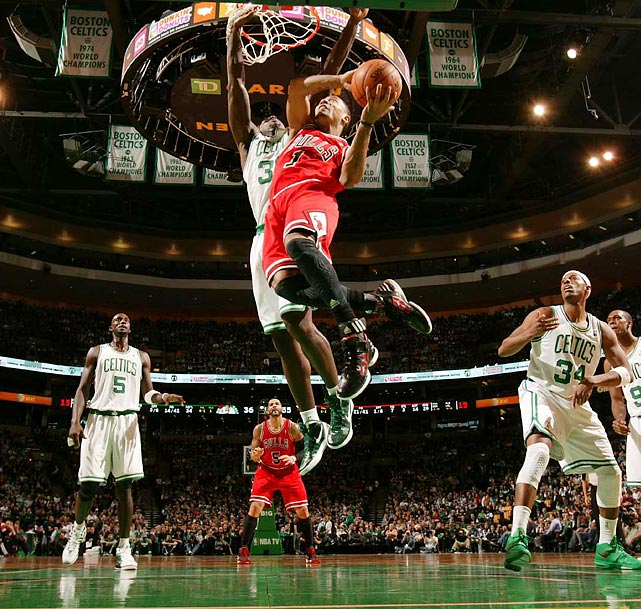 Derrick Rose goes up for a layup against the Celtics.