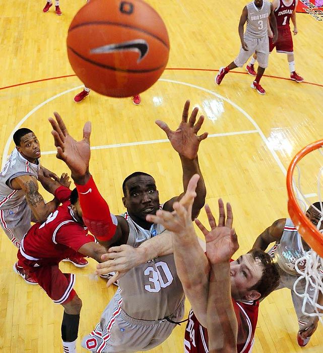 Ohio State forward Evan Ravenel reaches for a rebound in the Buckeyes' 80-63 win over Indiana on Sunday.