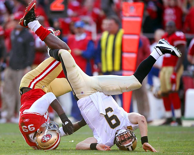 San Francisco defensive end Aldon Smith sacks Drew Brees in the third quarter of Saturday's playoff game at Candlestick Park.