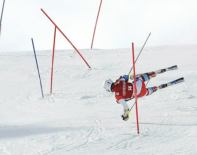 Swiss skier Fabienne Suter falls during the Super Combined Slalom World Cup event in St. Moritz, Switzerland.