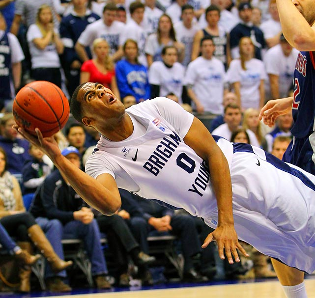 BYU forward Brandon Davies puts up a shot in the Cougars' 80-66 home loss against St. Mary's.