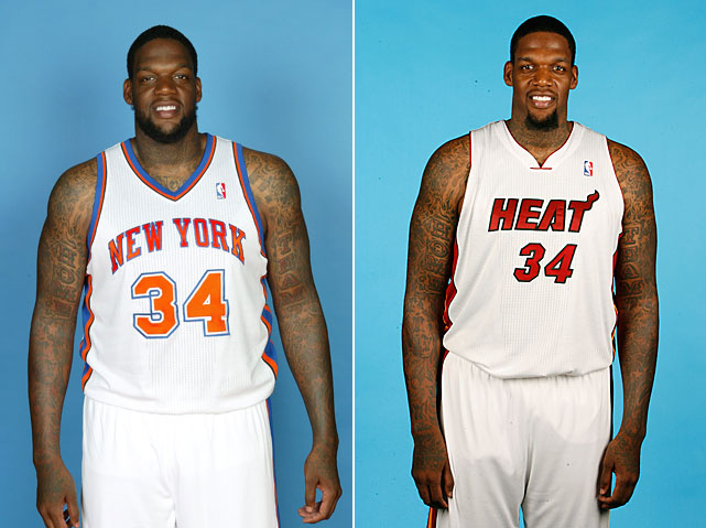 Before:  Sept. 24, 2010  After:  Dec. 10, 2011  Laugh all you want, but the big guy actually got into shape this offseason. According to the  Miami Herald , Curry worked out with trainer Tim Glover in Chicago and dropped down to 300 pounds in August. He's believed to have weight around 350 when he tried out with the Heat in March. Now an official member of the Miami Heat, Curry is listed at 295 pounds.
