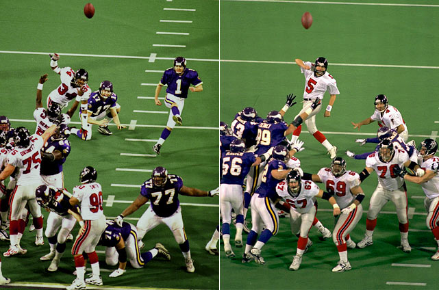 Minnesota kicker Gary Anderson -- who had not missed a kick all season -- gave new life to the Falcons when he pushed a late 38-yarder that would've sealed the victory. Atlanta quarterback Chris Chandler took advantage of Anderson's miss, driving his team down the field and throwing a 16-yard touchdown to force overtime. The Falcons won on the fourth possession of the extra period, getting a 38-yard field goal from Morten Anderson to beat the Vikings 30-27.