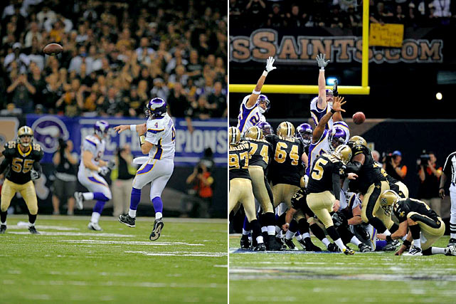 Favre threw away the NFC Championship for the second time in three years in 2010, getting intercepted late in regulation with Minnesota in position for a game-winning field goal attempt. New Orleans converted on the first possession of overtime, getting a 40-yarder from kicker Garrett Hartley to win 31-28.