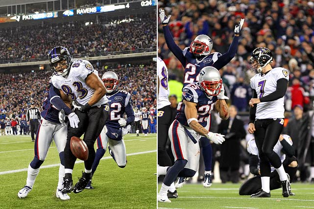 The Ravens should have won it. Then they should have tied it. Baltimore did neither, and the Patriots escaped with a 23-20 win. Ravens wide receiver Lee Evans had the game-winning touchdown in his hands with 22 seconds left before New England cornerback Sterling Moore jarred the ball free. Then Billy Cundiff shanked a 32-yard field goal with 11 seconds remaining, locking up the Patriots' rematch with the New York Giants in Super Bowl XLVI.