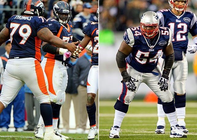 The Patriots interior line, particularly Brian Waters, has been fantastic this year, playing a big part in New England allowing the ninth fewest sacks in the league despite attempting the third most passes. Denver defensive tackles Marcus Thomas and Brodrick Bunkley have had solid years, but both have flown under the radar. It will be critical for them to continue their good play and to pressure Tom Brady up the middle.