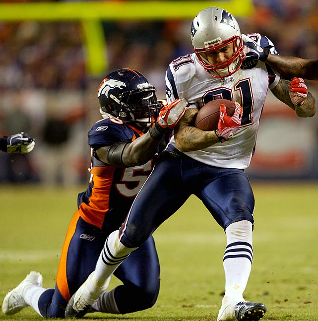 Gronkowski and Hernandez are two of the best tight ends in the league, combining for an astonishing 169 receptions for 2,237 yards and 24 touchdowns. Denver linebacker D.J. Williams figures to matchup with the duo quite often on Saturday -- if he lets either run wild, it will be a long night for the Broncos.