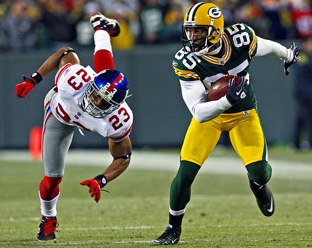 Jennings missed the last three weeks of the regular season with a knee injury but looks set to return on Sunday. The talented receiver should be matched against Giants corner Corey Webster for most of the game. Both players had strong seasons, though Jennings got the best of New York in Week 13, catching seven balls for 94 yards and a touchdown in Green Bay's 38-35 win.