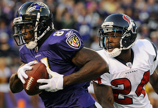 Baltimore's pass game has taken a nosedive since Boldin had minor knee surgery three weeks ago. He'll return to action on Sunday -- the question is whether he'll torch Houston like he did in Week 6, when he had a season-high eight catches for 132 yards. He'll likely be matched up for most of the game with Joseph, who had a pick in Week 6 and another last week against Cincinnati.