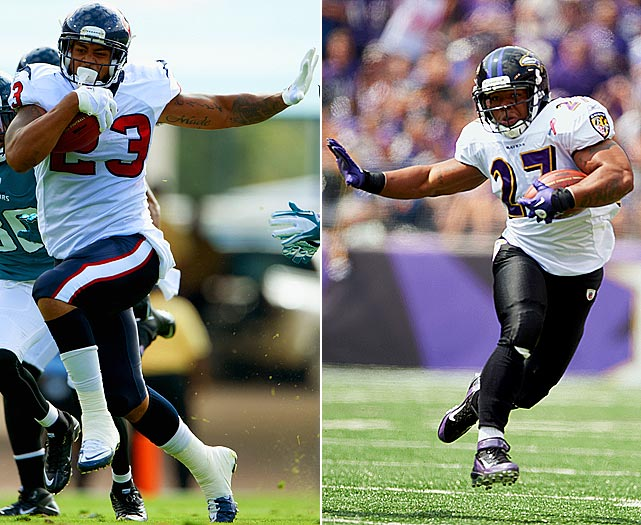 The Texans-Ravens matchup will be a battle of perhaps the two best running backs in the game. Rice had another great season, finishing second in the NFL with 1,364 yards on the ground and 12 rushing touchdowns. Foster nearly matched him, running for 1,224 yards and 10 touchdowns in 13 regular season games. Rice did get the better of Foster in the Ravens' Week 6 win over the Texans, rushing for 101 yards compared to 49 for Foster.