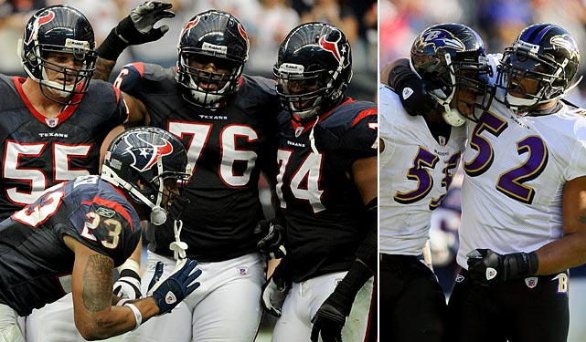 Houston's offensive line had a great season, paving the way for the league's second-ranked rushing attack and allowing the 10th fewest sacks in the NFL. The line didn't fare too well against the Ravens in Week 6 though, allowing four sacks and netting just 94 rushing yards. It'll need to do better than that against Defensive Player of the Year candidate Terrell Suggs and Ray Lewis if the Texans are to win this weekend.