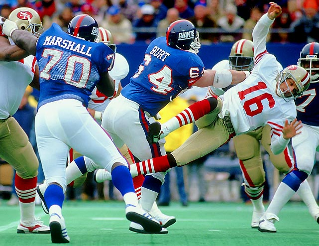 The Giants absolutely steamrolled the 49ers in '87, getting 21 points in both the second- and third-quarters to blowout San Francisco 49-3 en route to a Super Bowl title. Simms threw for four touchdowns, but New York's defense was the true star, holding the `Niners to 184 total yards, forcing four turnovers and scoring an interception TD. Montana went out with a scary injury in the second quarter, losing consciousness and suffering a concussion after being hit by defensive tackle Jim Burt.