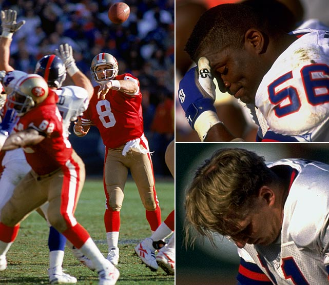 The 49ers got a measure of revenge on New York in 1994, dominating the Giants from the start of the 44-3 blowout. It was a horrible way to go out for Giants' star linebacker Lawrence Taylor and Phil Simms, both of whom retired that offseason.