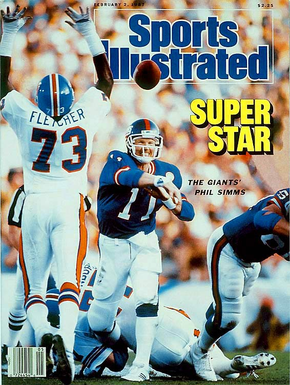Giants quarterback Phil Simms completed a Super Bowl record 88 percent of his passes for 268 yards and three touchdowns to lead New York over John Elway's Broncos 39-20. The Giants scored 30 second half points to run away from Denver, which had a 10-9 halftime lead.