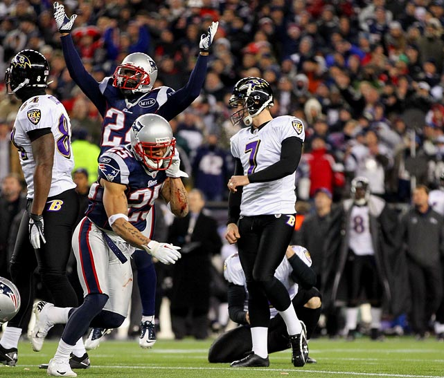 Baltimore kicker Billy Cundiff missed a 32-yard field goal that would've tied the game to give the Patriots a 23-20 win and send New England back to the Super Bowl for the first time in four years.