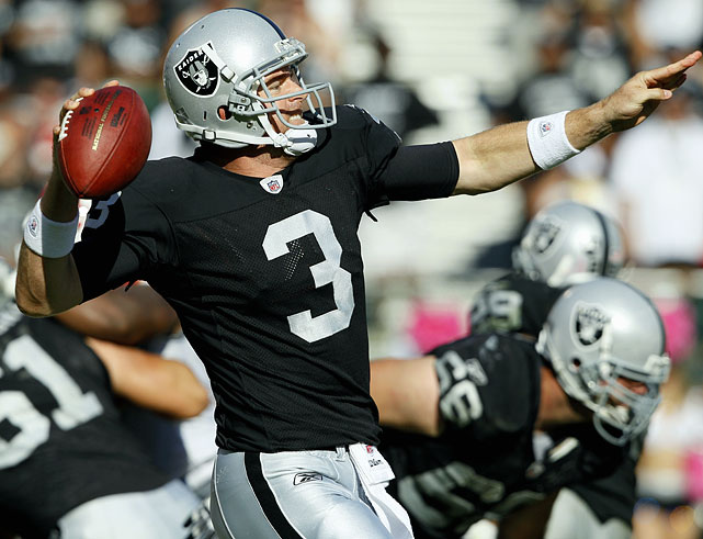 After Raiders' quarterback Jason Campbell was sidelined for the year with a broken collarbone in Week 5, Oakland traded a first and second round pick to get Cincinnati's semi-retired Carson Palmer, who quickly became the Raiders new starting quarterback.