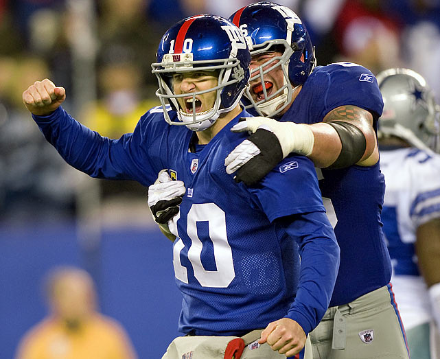In a win-and-you're-in primetime matchup with the Cowboys, Eli Manning came up big by throwing for 346 yards and three touchdowns. The Cowboys fell behind early after missing tackles on each of New York's first-half touchdowns and failed to recover a pair of fumbles that could have swung the game's momentum in their favor. As a result, New York cruised to a 31-14 win and an NFC East title.