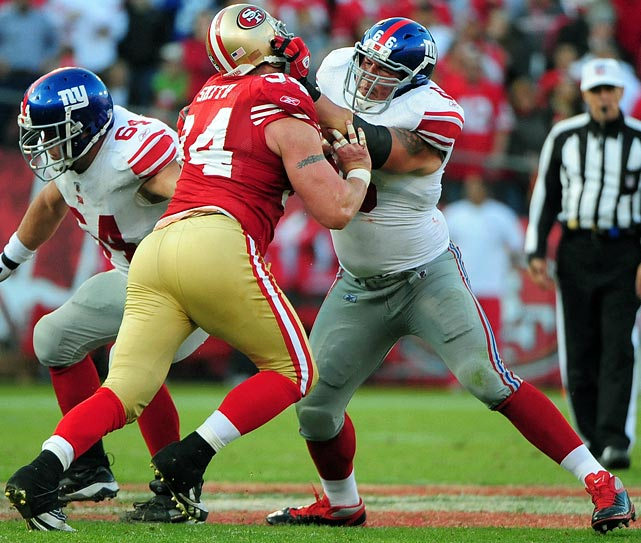 Smith has been a monster all year, registering seven-and-a-half sacks and 58 tackles for San Francisco's strong defense. The 11th-year defensive end continued his strong play on Saturday, sacking Drew Brees once in the 49ers' big win. New York left tackle David Diehl will have the tough job of keeping Smith out of the backfield this weekend.