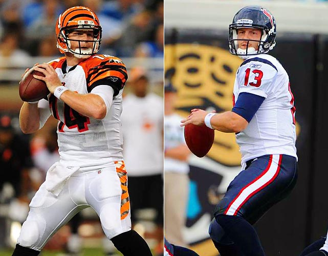 The Bengals-Texans tilt will be a battle of rookie quarterbacks, with Houston-area native Dalton going up against late-season injury stand-in Yates. Yates had the best game of his young career in a Week 14 win at Cincinnati, throwing for 300 yards and two scores in Houston's dramatic, come-from-behind 20-19 victory. Dalton has struggled a bit in recent weeks and the TCU grad will need to improve upon his late-season form for the Bengals to get a win in his hometown.