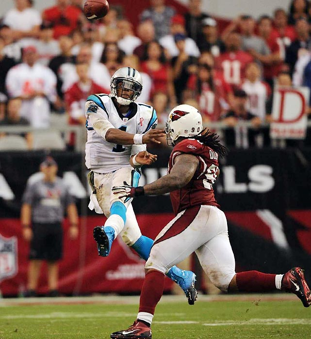 Skeptics wondered how quickly the No. 1 pick would adjust to running an NFL offense, but the Panthers' rookie wasted no time in showing his ability to make plays through the air. Newton threw for 422 yards in his first game, a record for a rookie debut. He slowed some after a hot start, but he still broke Peyton Manning's rookie record with 4,051 yards passing.