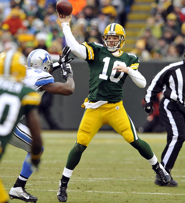 Green Bay and Detroit combined for a Week 17 shootout that set an NFL record with a combined 971 passing yards. The surprise? The Packers were piloted by backup Matt Flynn, who subbed for MVP candidate Aaron Rodgers. Flynn tossed 480 yards and six touchdowns in a 45-41 win. Detroit's Matthew Stafford passed for 520 yards and five touchdowns. The effort broke the previous mark of 906 yards set in Week 1 by the Patriots and Dolphins.