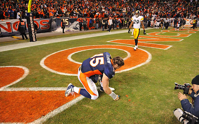 "Of course, Tebow ""Tebowed"" (or close to it) after the dramatic win, his first career playoff game."