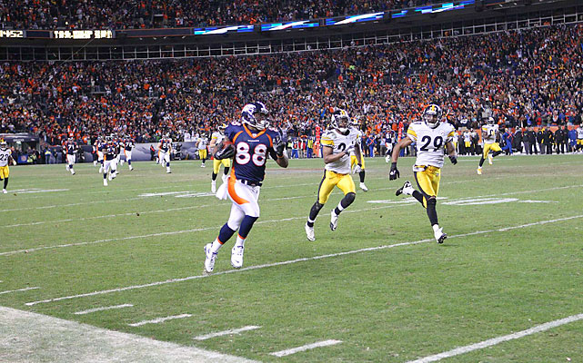 Demaryius Thomas sprints to the end zone on the first play of overtime, an 80-yard touchdown pass from Tim Tebow that sent the Mile-High City and millions watching everywhere else into a frenzy.