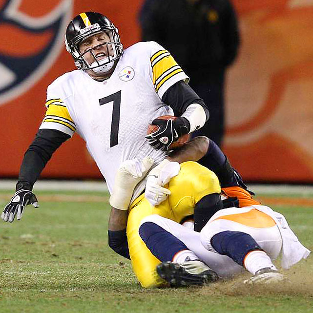 Ben Roethlisberger entered the game with a severely sprained left ankle, and the Broncos defense didn't do him any favors. Big Ben was sacked five times and picked off once.