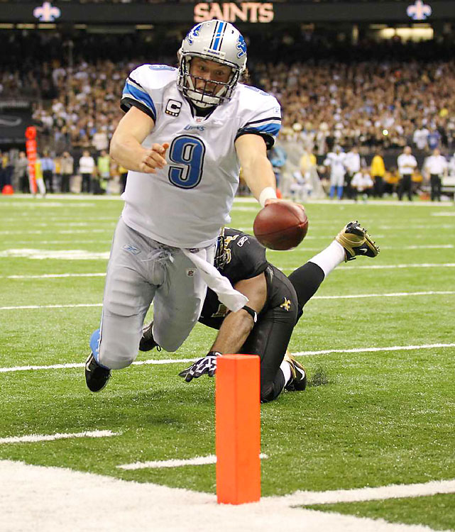 Matthew Stafford threw for 380 yards and three TDs (and this rushing touchdown), but the Lions simply could not keep up in the second half.