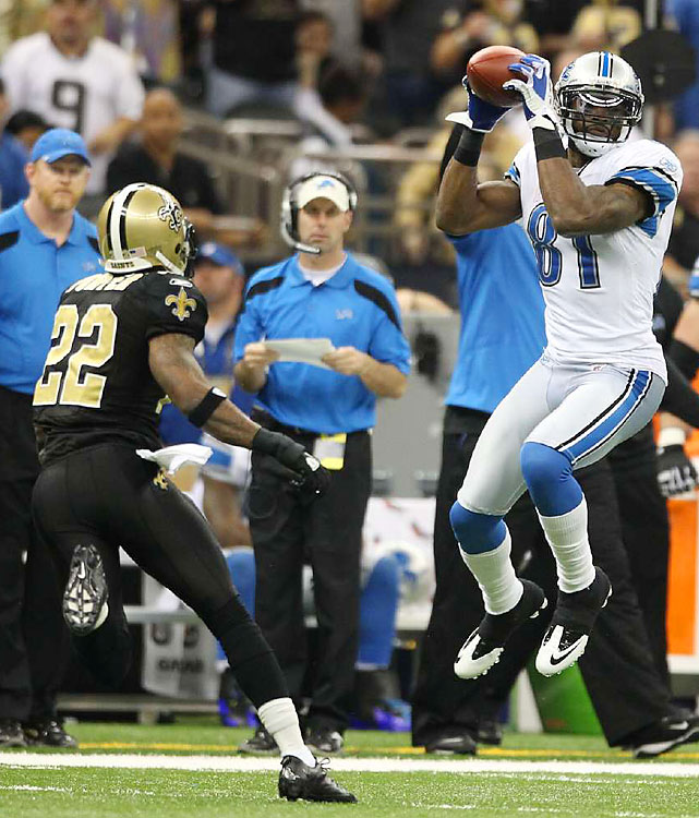 Calvin Johnson (12 catches, 211 yards, 2 TDs) was nearly as unstoppable as the Saints in his first playoff game.