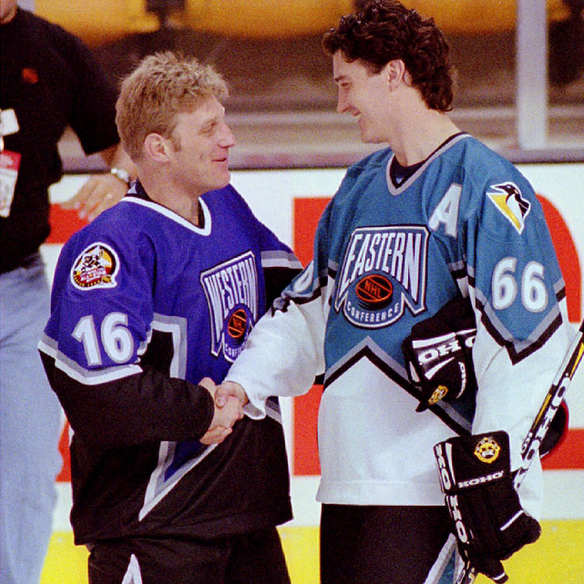 Brett Hull and Mario Lemieux.