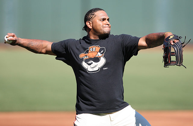 Giants third baseman Pablo 'Kung Fu Panda' Sandoval wears his nickname proudly prior to a game in August 2011.