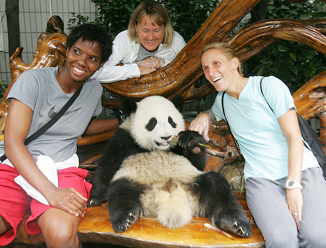 Just another day at the office for this panda as he poses with the U.S. women's soccer team prior to the 2007 Women's World Cup.