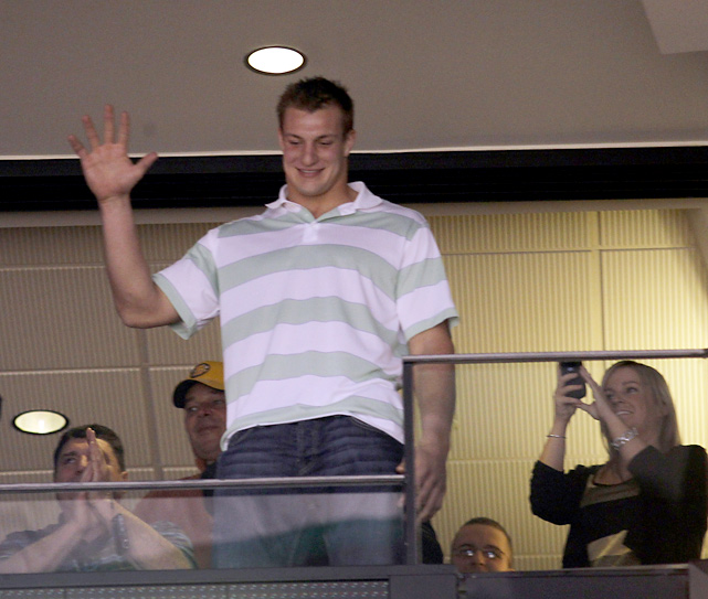 Gronkowski received a hero's welcome from the Boston crowd while attending a Bruins-Canadiens game in December 2011.