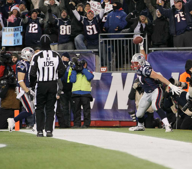 Gronkowski has become famous for his post-touchdown spike, throwing the ball as hard as he can into the ground. In November 2011, however, he got carried away and was penalized 15 yards and fined $7,500 for spiking the ball at Jets cornerback Donald Strickland after beating him on a play.