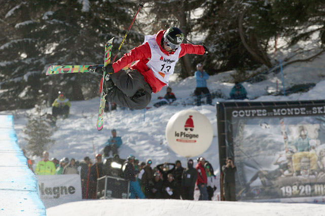 Burke takes first place during the FIS Freestyle World Cup Men's and Women's Halfpipe in La Plagne, France.