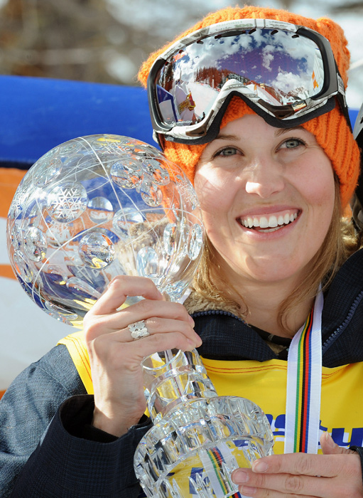 Burke shows off her trophy after winning the overall Women's Freestyle World Cup Halfpipe title in Valamenco, Italy.