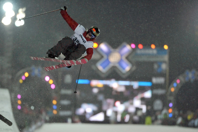 Burke participates in the Women's Ski Superpipe Final on her way to winning the gold during Winter X Games 13.