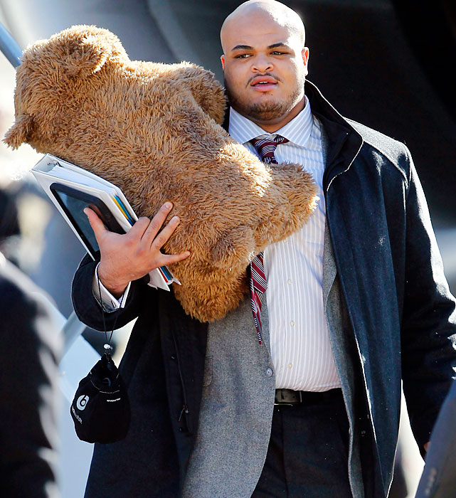 Giants tackle James Brewer brought a teddy bear as a carry-on.